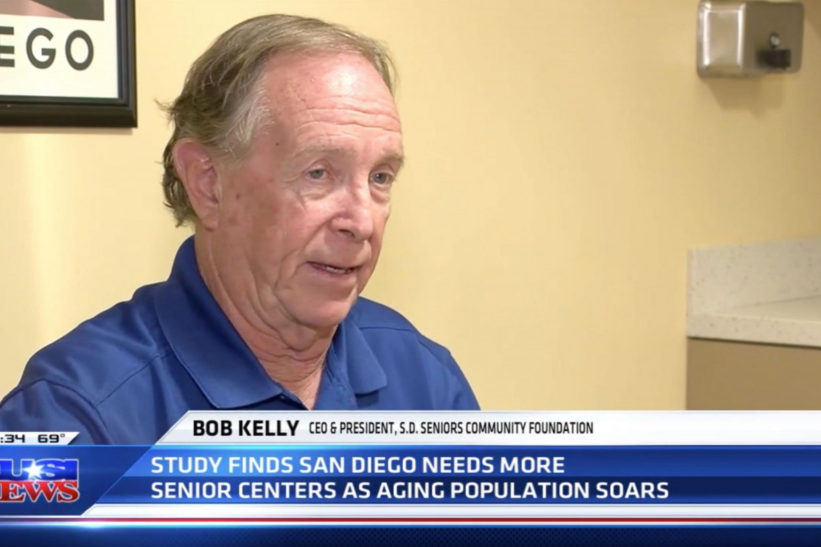 Bob Kelly interviewed by KUSI at the Gary and Mary West Senior Wellness Center