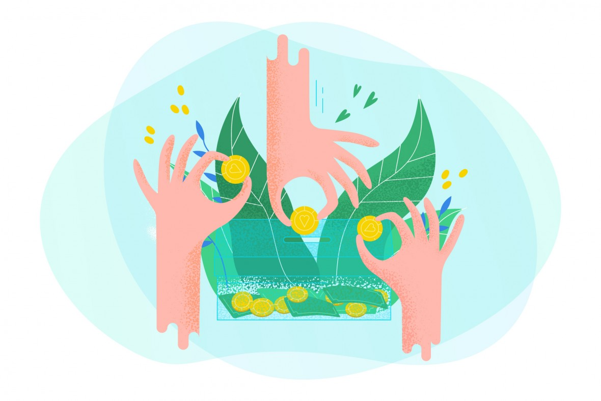 illustration of hands putting coins in a bank with leaves representing the idea of growth